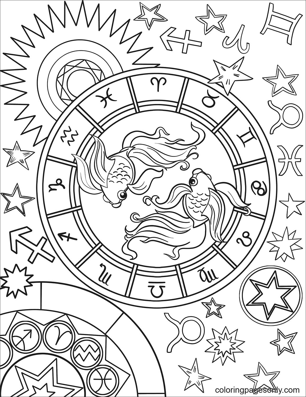 Pisces Zodiac Coloring Page