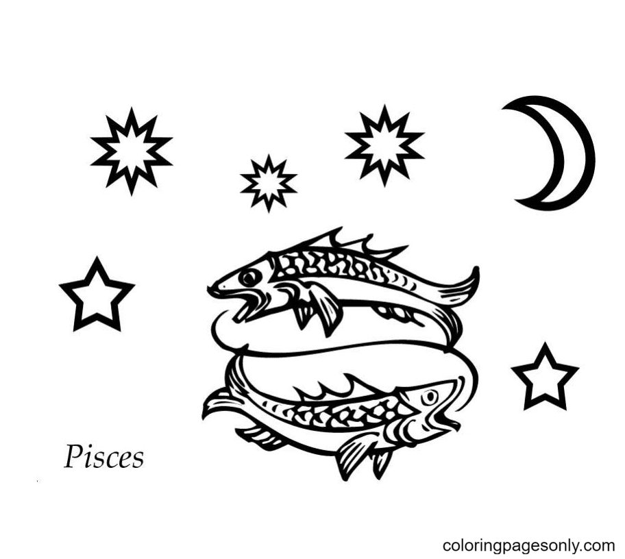 Pisces anime Coloring Page
