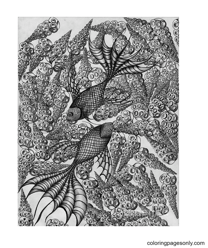 Pisces for Adults Coloring Page