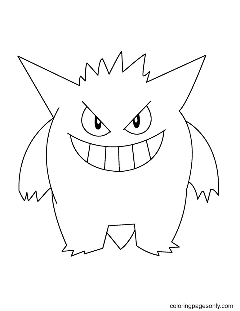 Pokemon Gengar Free Printable Coloring Page