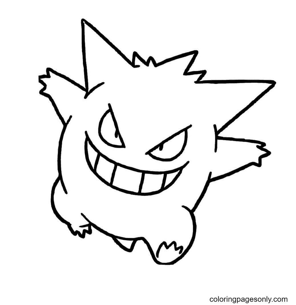 Pokemon Gengar Free Coloring Page