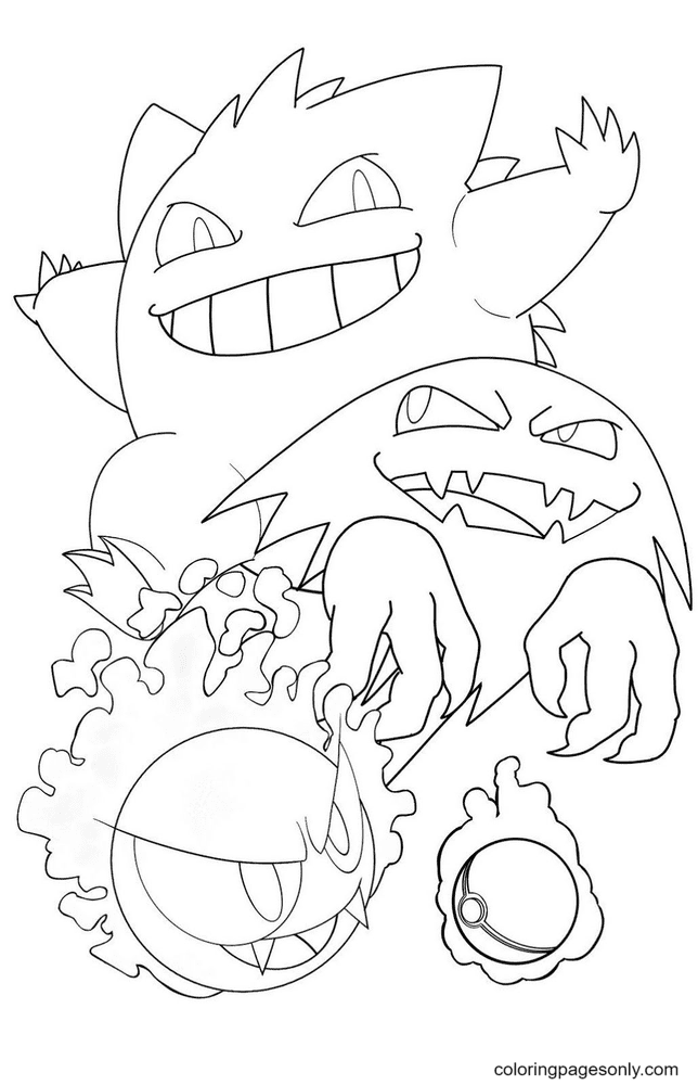 Pokemon Gengar Gastly and Haunter Coloring Page