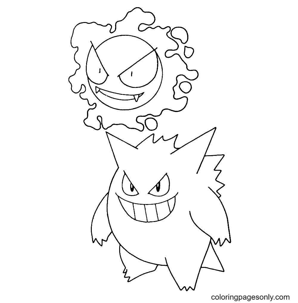 Pokemon Gengar and Gastly Coloring Page