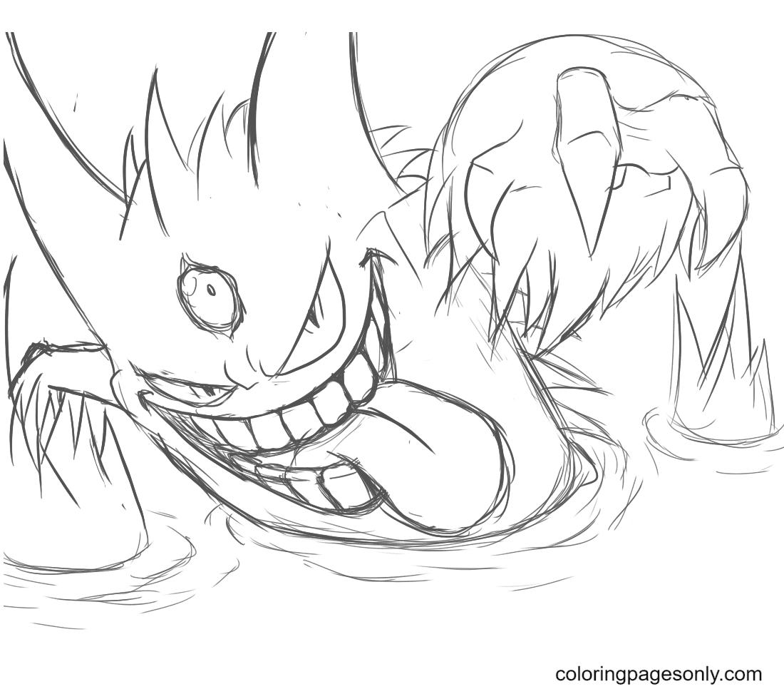 Pokemon Gigantamax Gengar Coloring Page
