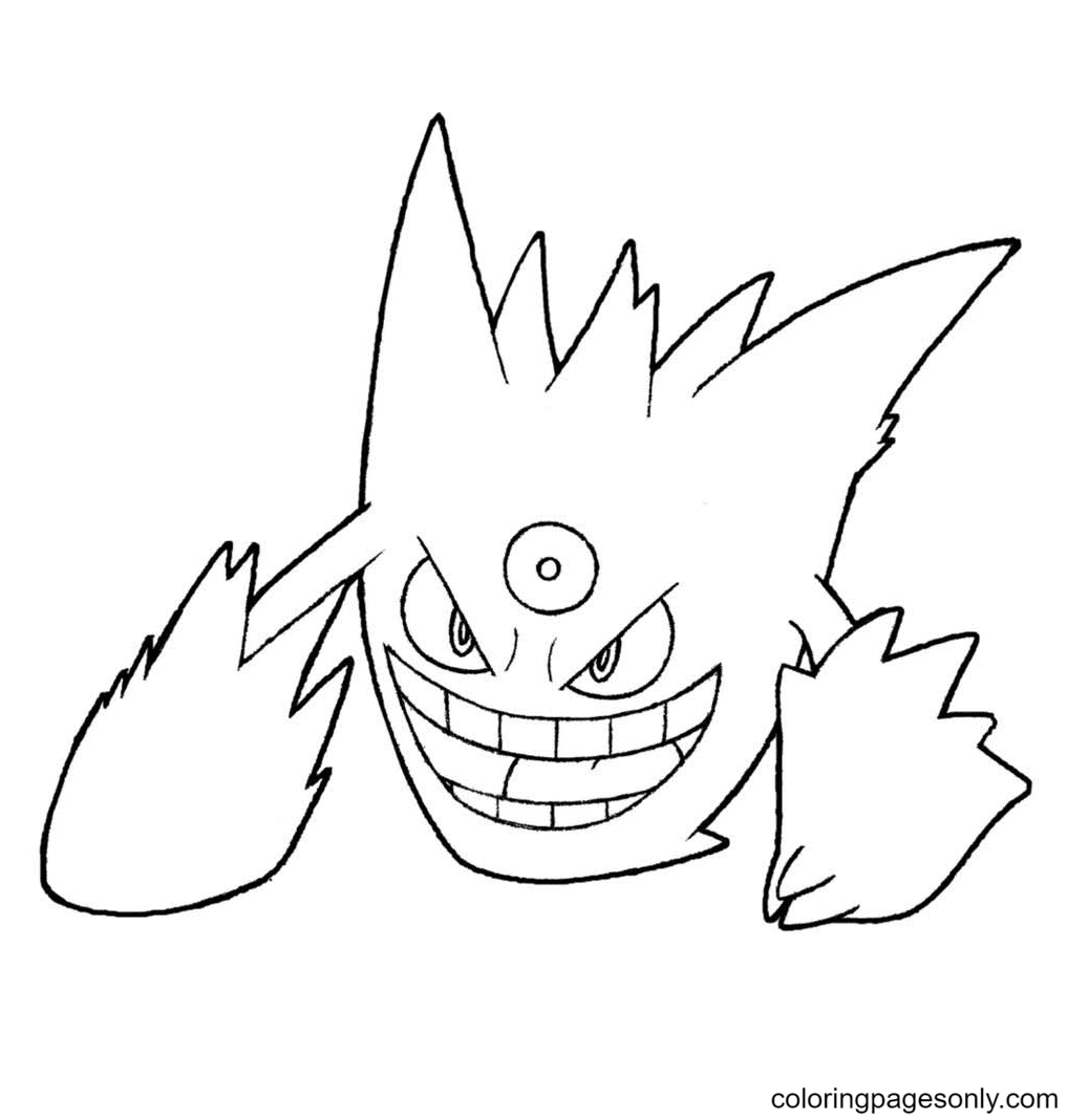 Pokemon Mega Gengar Coloring Page