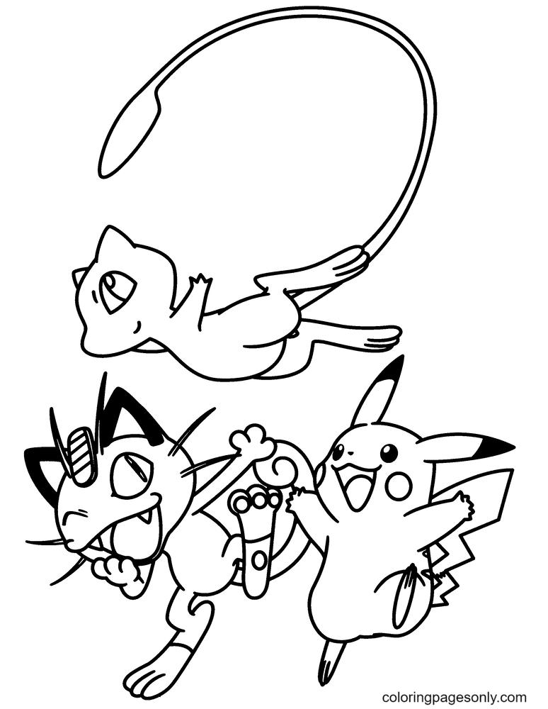 Pokemon Mew, Nyasu and Pikachu Coloring Page