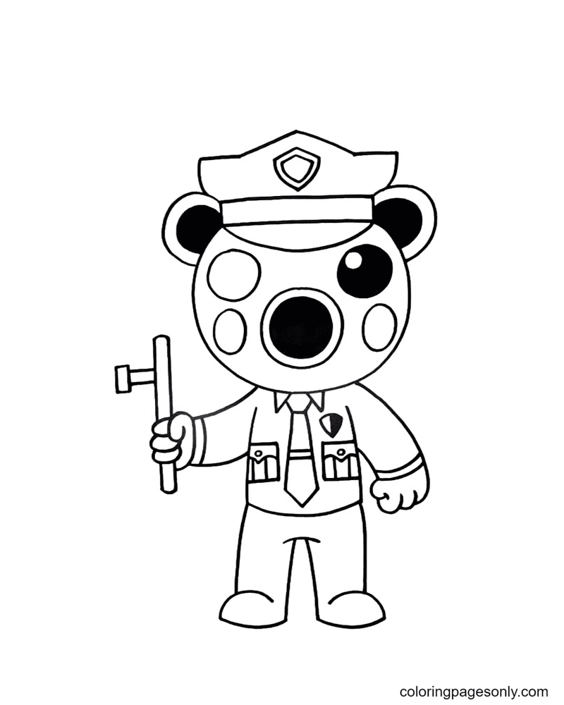 Poley Piggy Coloring Page