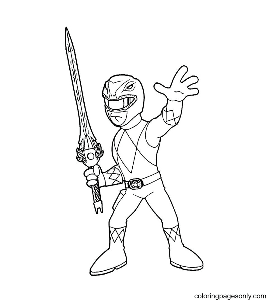 Power Ranger with Sword Coloring Page