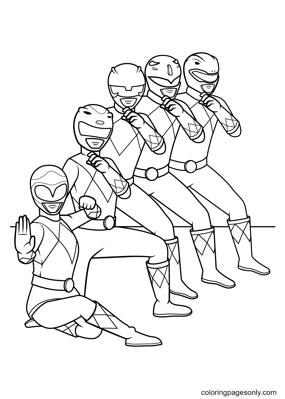 Power Rangers team Coloring Page
