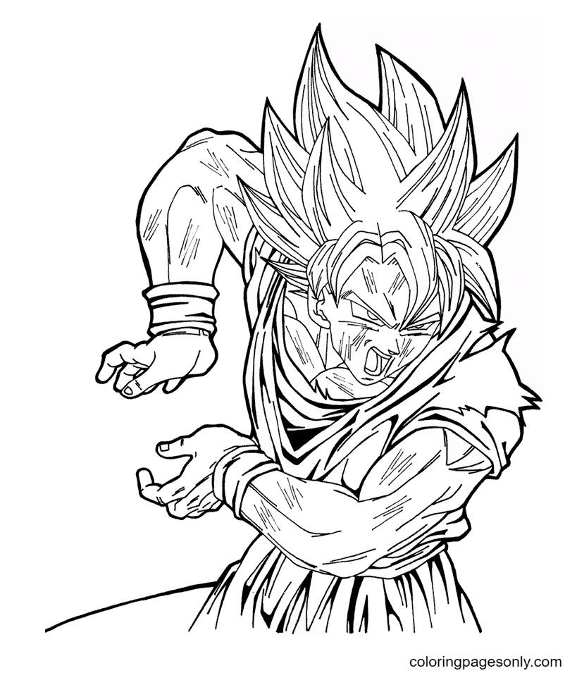 Power of Son Goku Dragon Ball Coloring Page