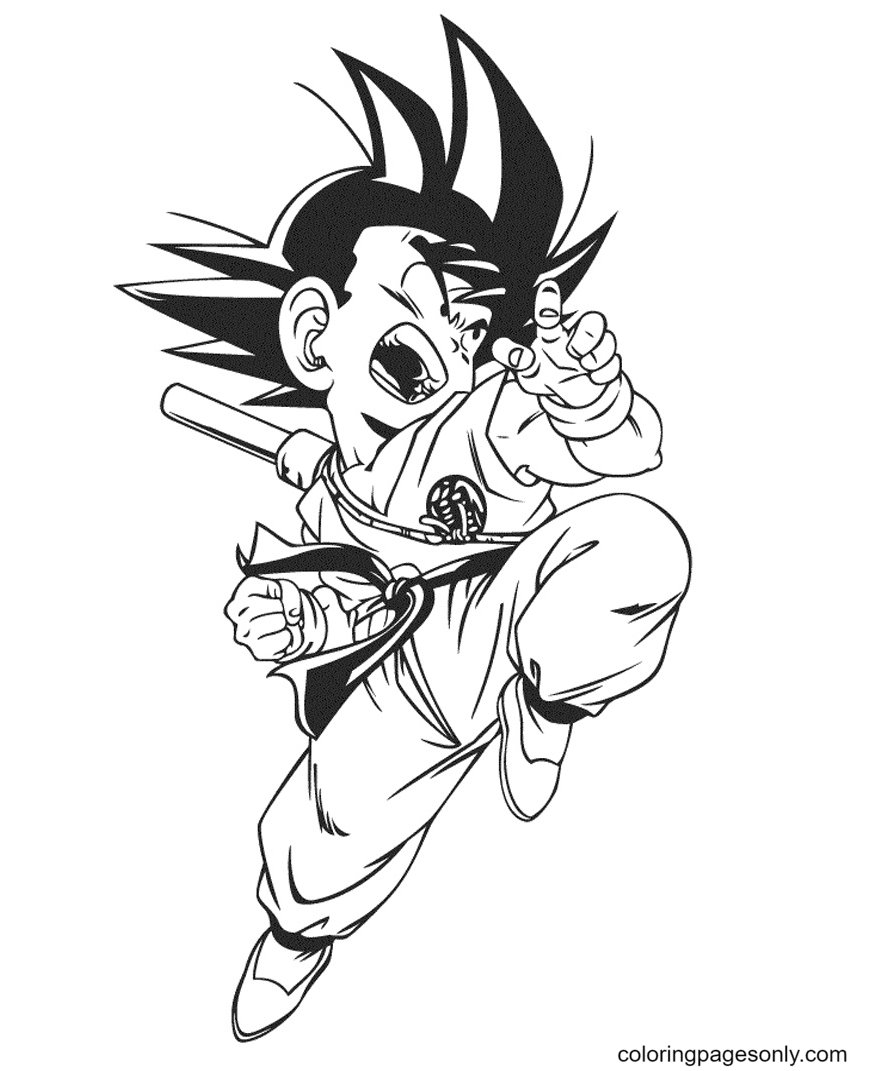 Powerful Attack of Goku Coloring Page
