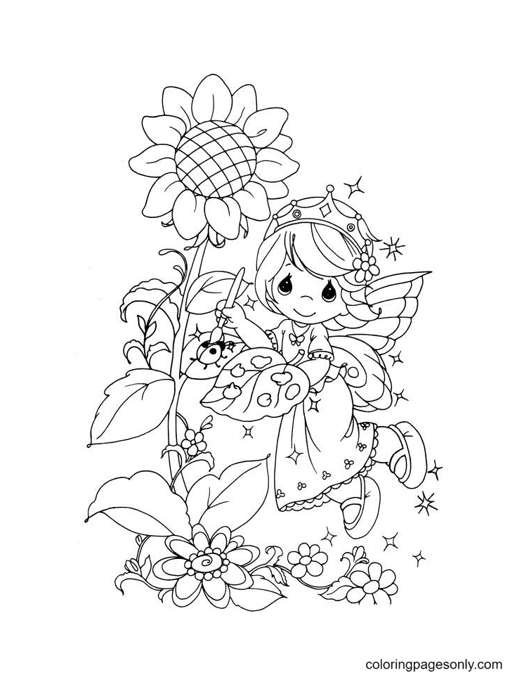 Precious Moment Girl with Sunflower Coloring Page