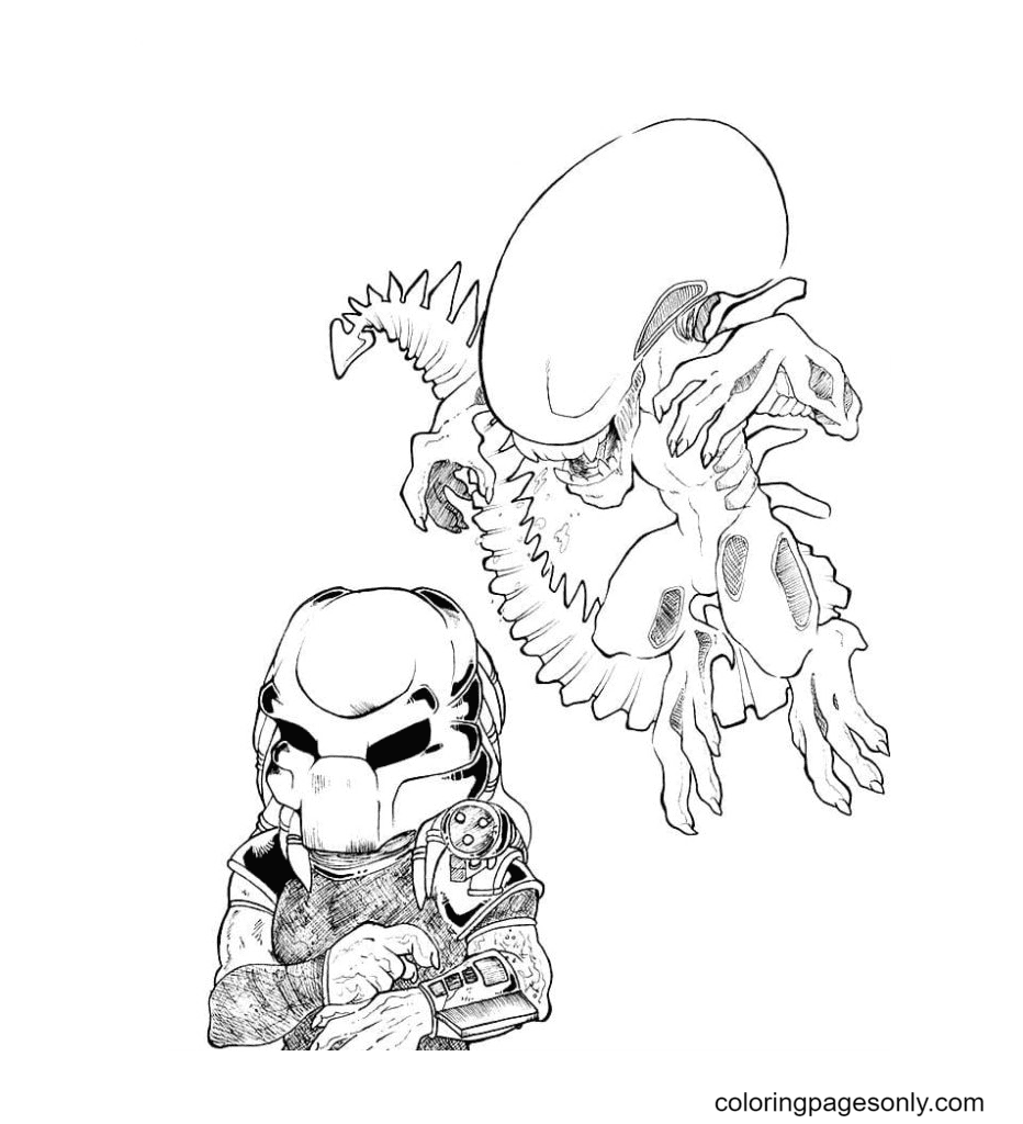 Predator, Alien Chibi Coloring Page