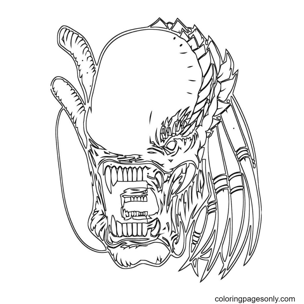 Predator Mask Coloring Page