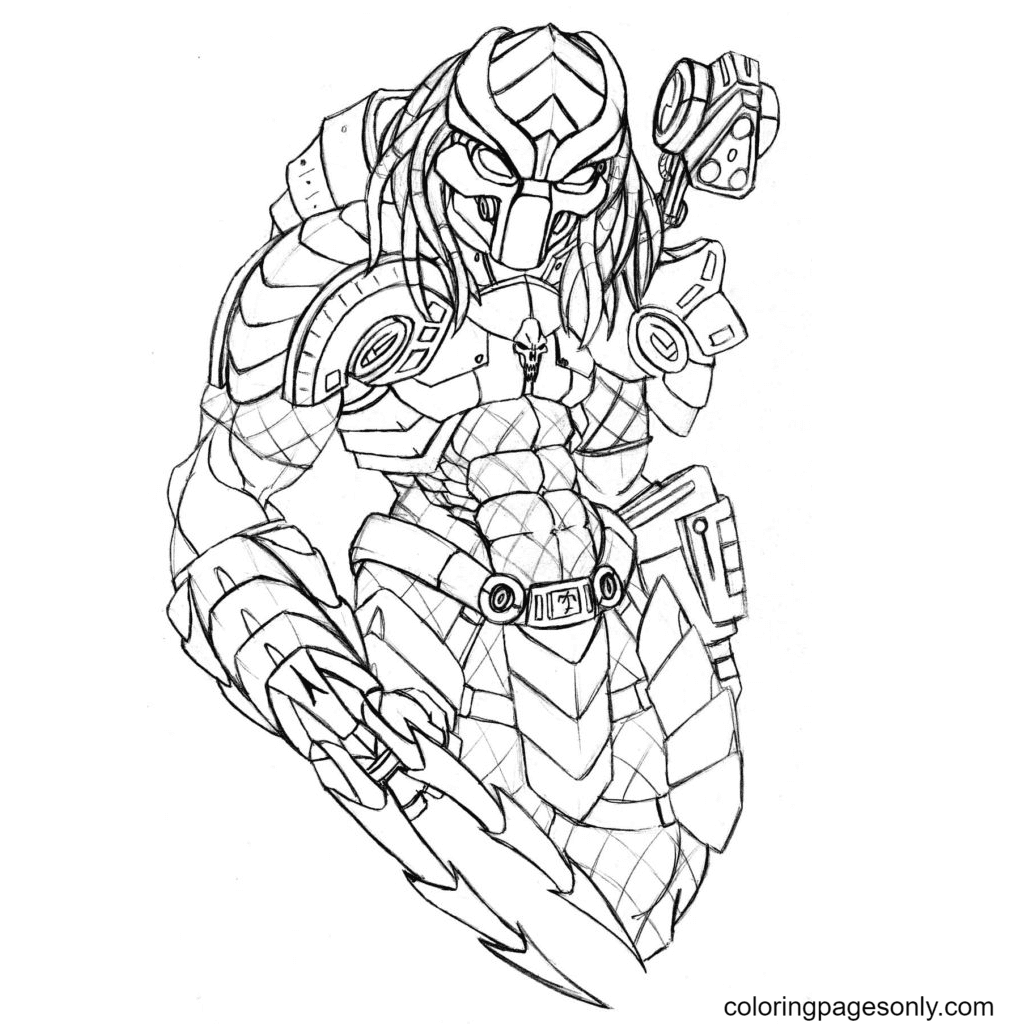 Predator for Adult Coloring Page