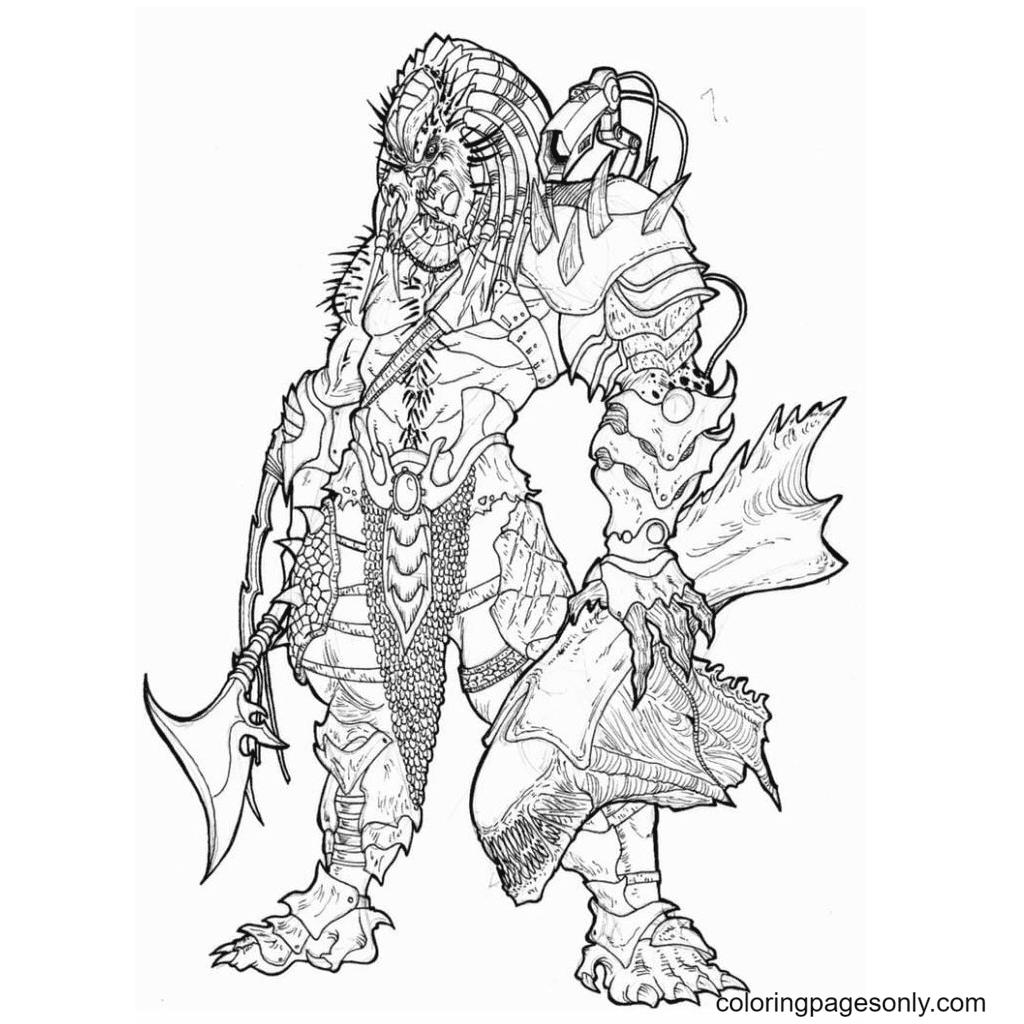 Predator with prey Coloring Page