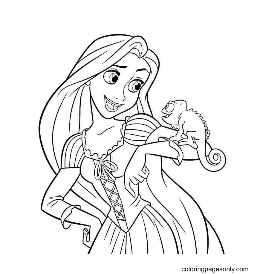 Princess Rapunzel with Pascal Coloring Page