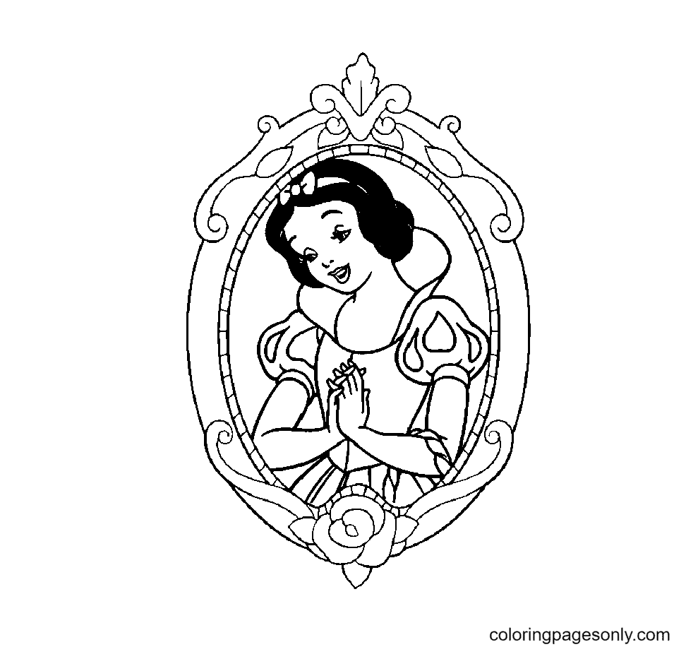 Princess Snow White Cheerful Coloring Page