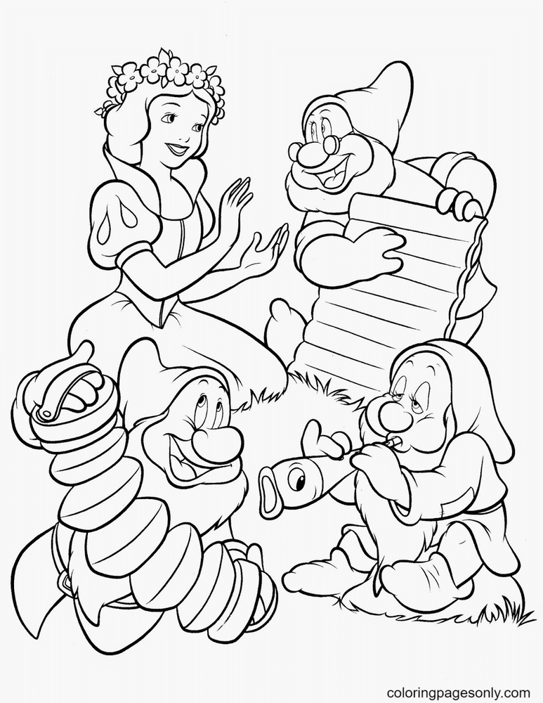 Princess Snow White happily with Seven Dwarfs Coloring Page
