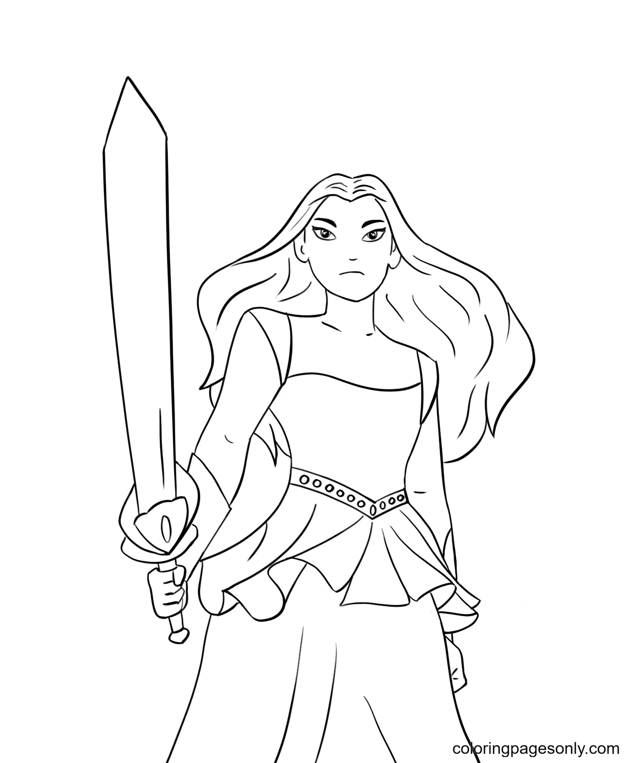 Princess Sword Coloring Page