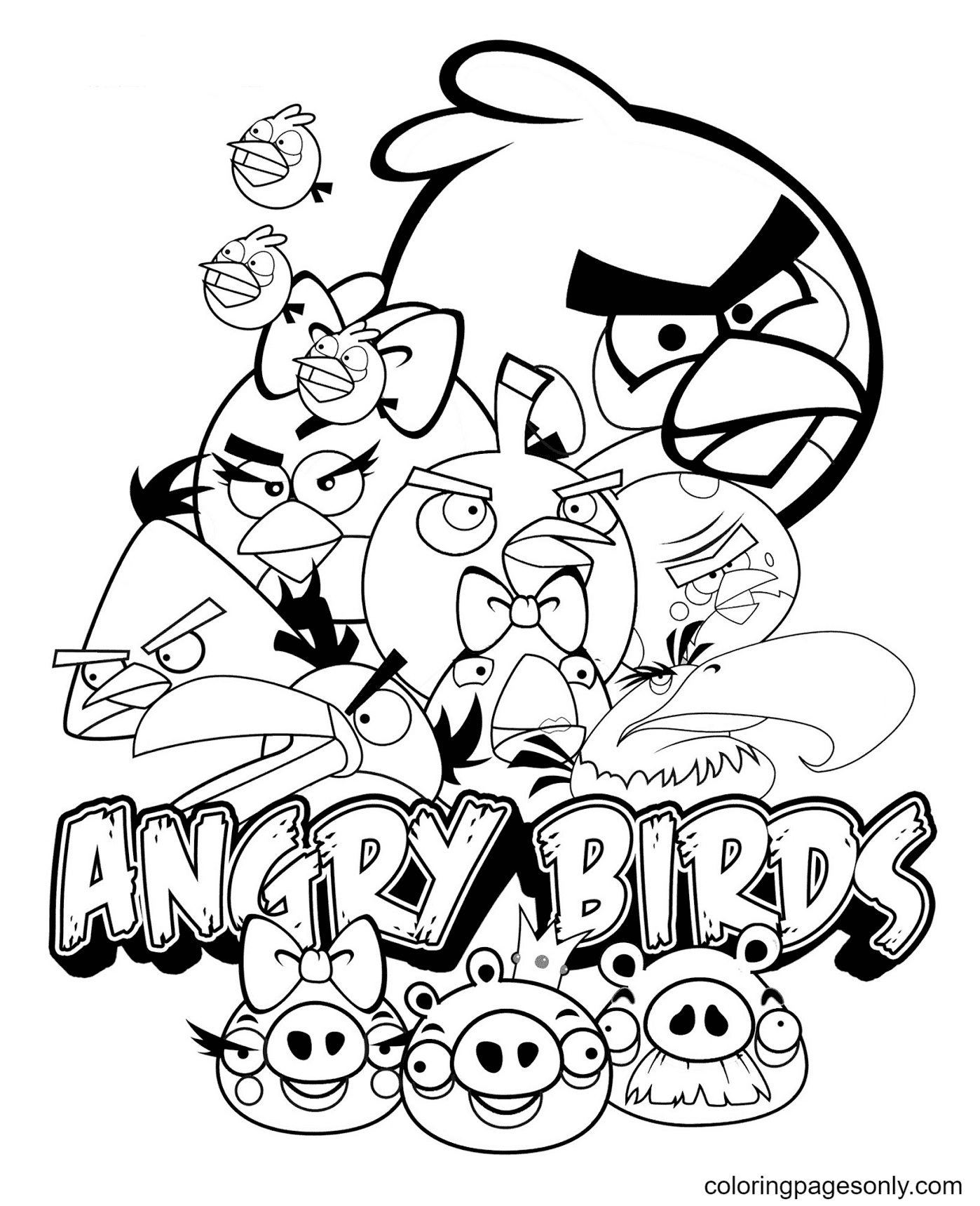 Printable Angry Birds Coloring Page