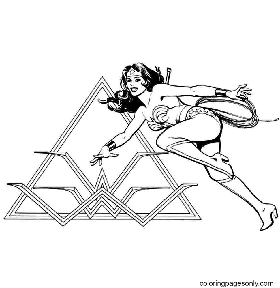 Printable Free Superhero Wonder Woman Coloring Page