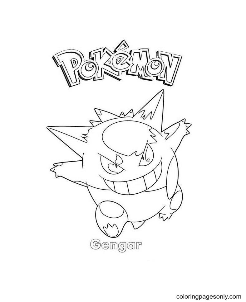 Printable Gengar Pokemon Coloring Page