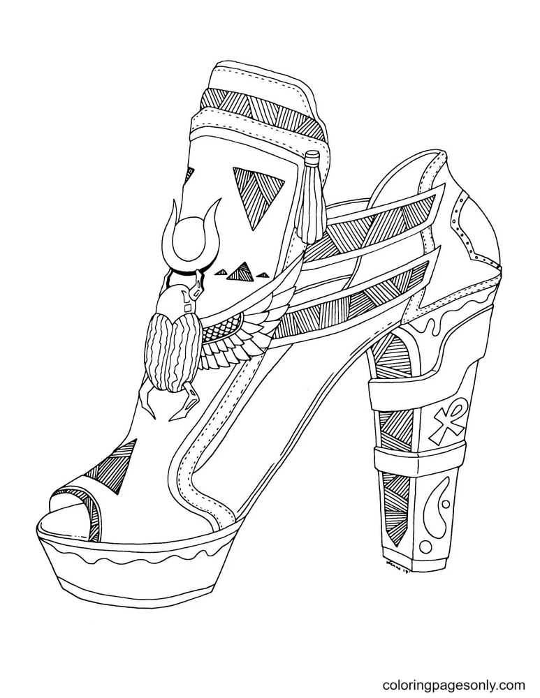 Printable High Heel Shoes Coloring Page