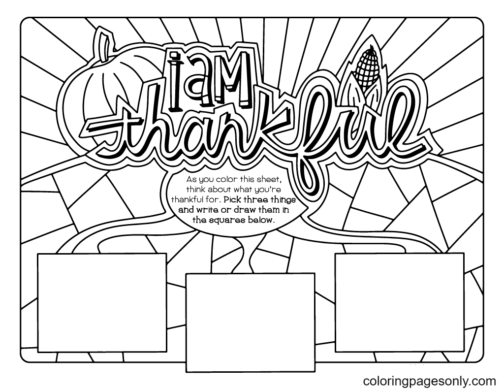 Printable I am Thankful Coloring Page