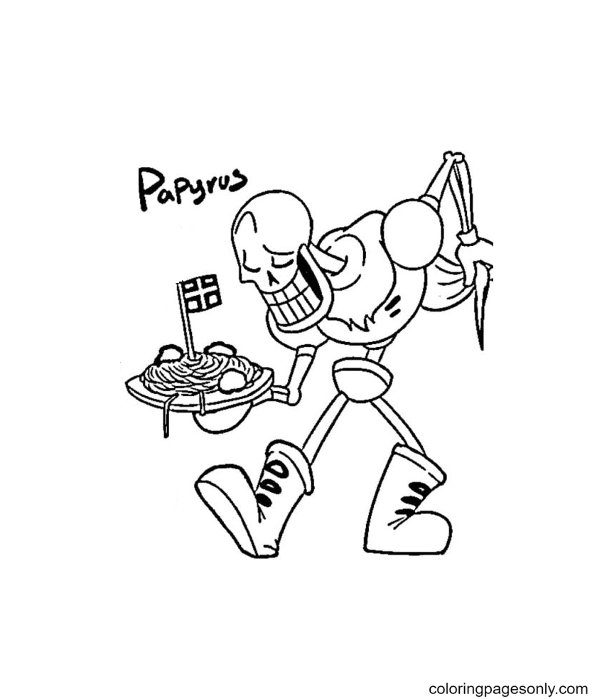 Printable Papyrus Undertale Coloring Page