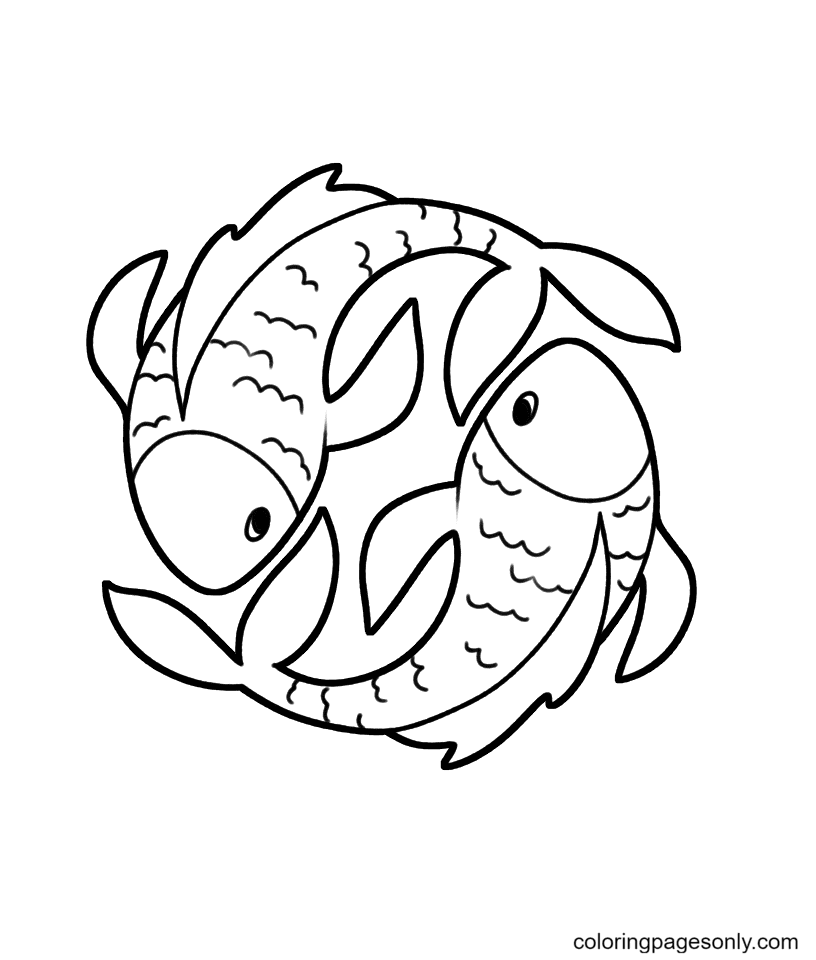 Printable Pisces Free Coloring Page