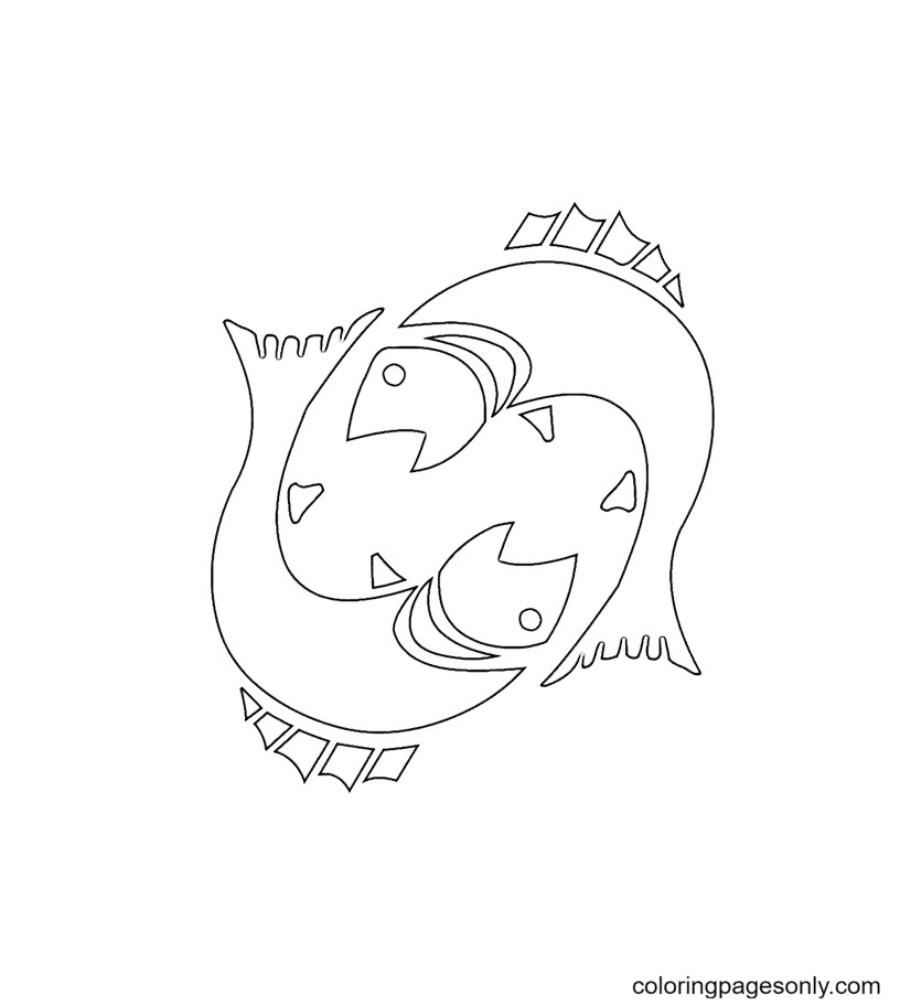 Printable Pisces Coloring Page