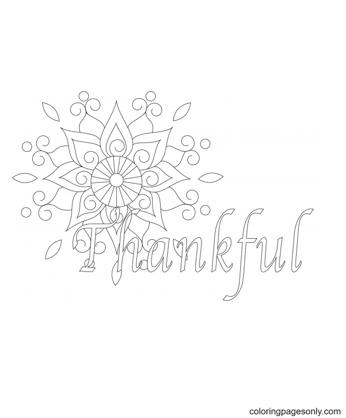 Printable Thanhkful Coloring Page