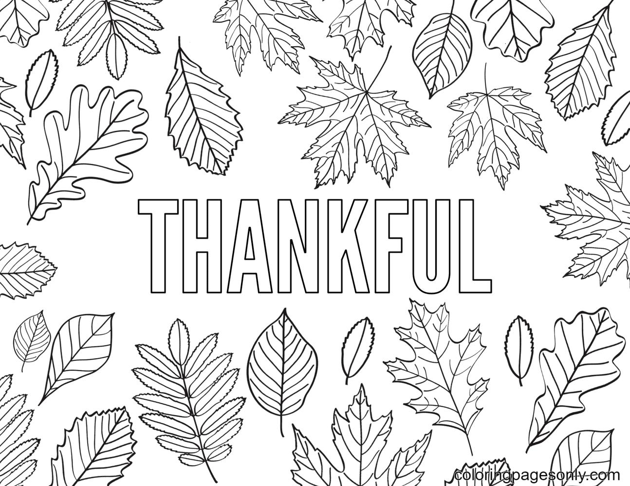Printable Thankful Coloring Page