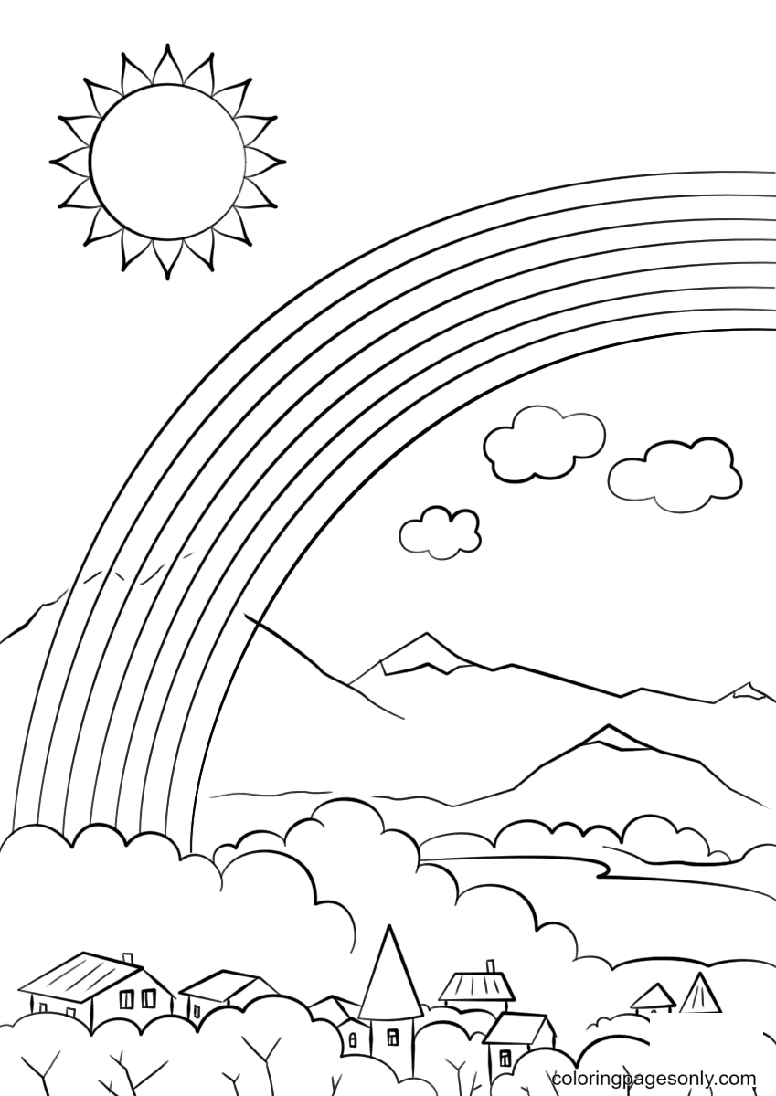 Rainbow over the City Coloring Page