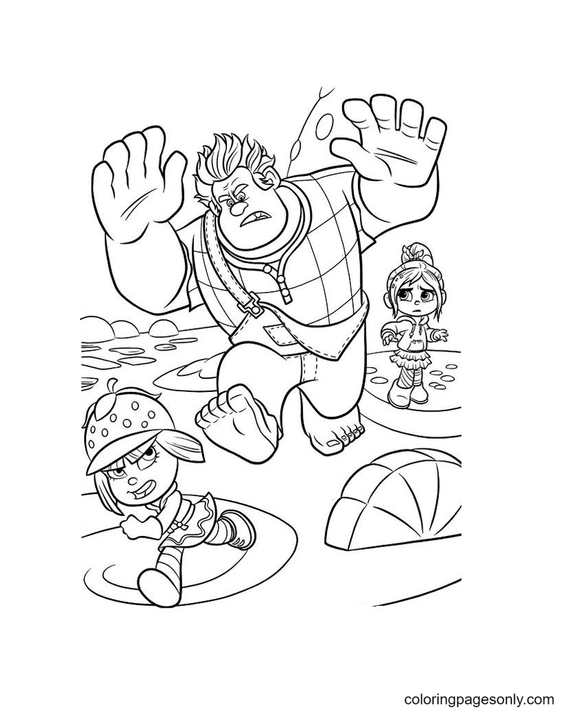 Ralph Drove Taffyta Away for Vanellope Coloring Page
