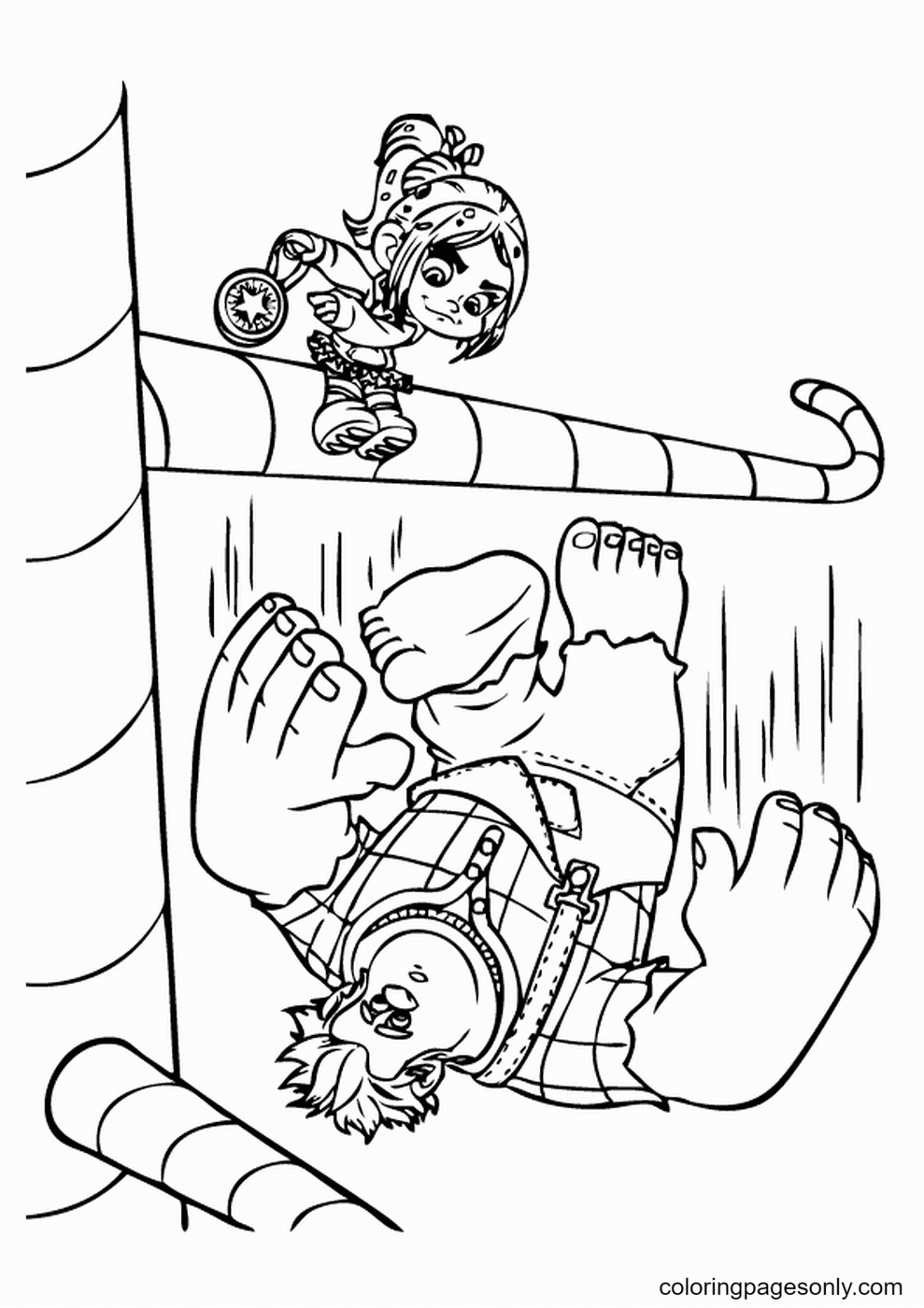 Ralph Falling Down from the Candy Tree Coloring Page