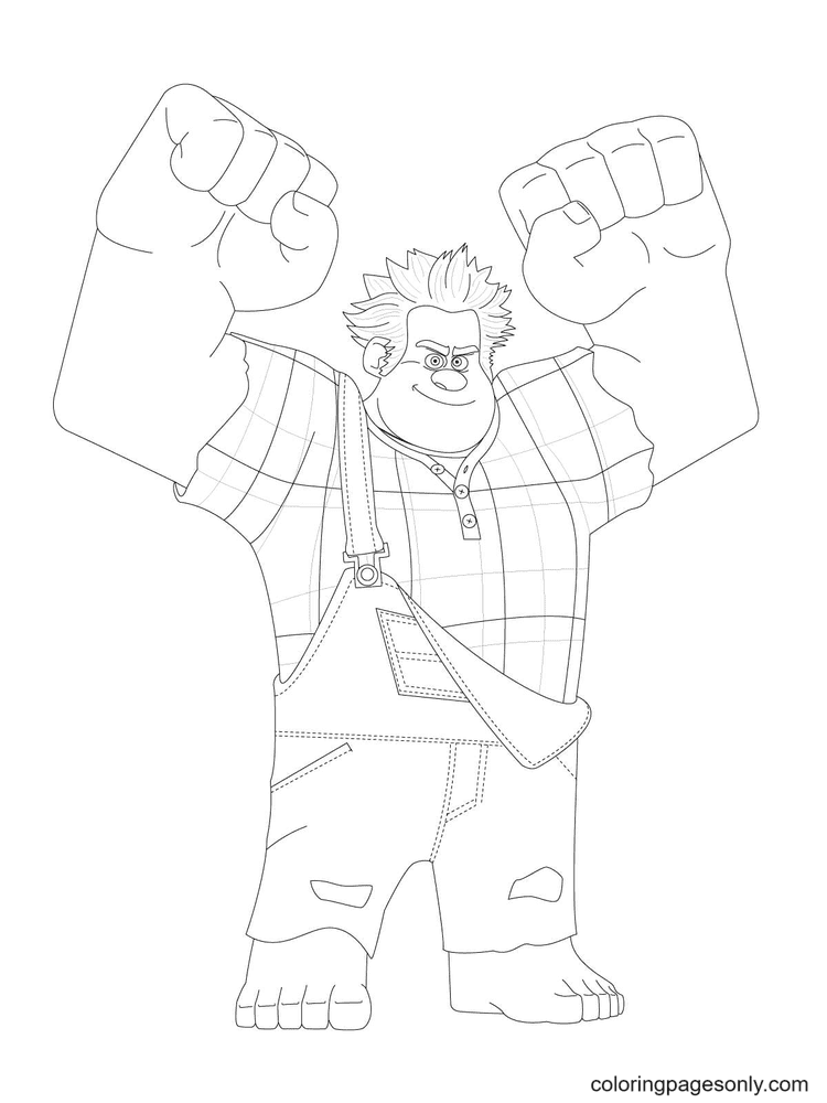 Ralph Has His Fists Clenched And His Arms Raised Coloring Page