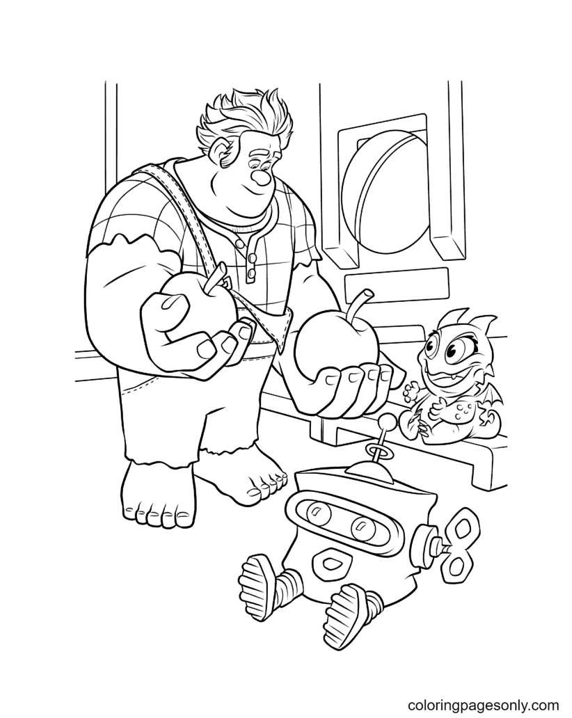 Ralph Holds Two Apples Coloring Page