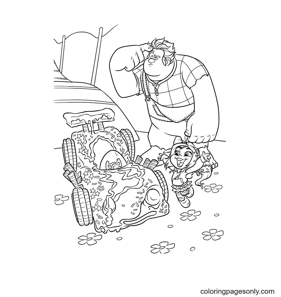 Ralph, Vanellope and her car Coloring Page