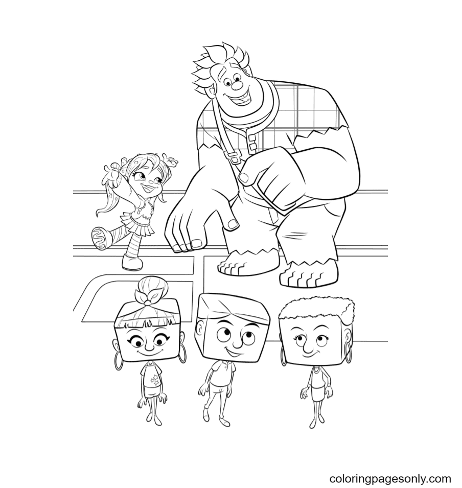 Ralph and Vanellope explore the internet Coloring Page