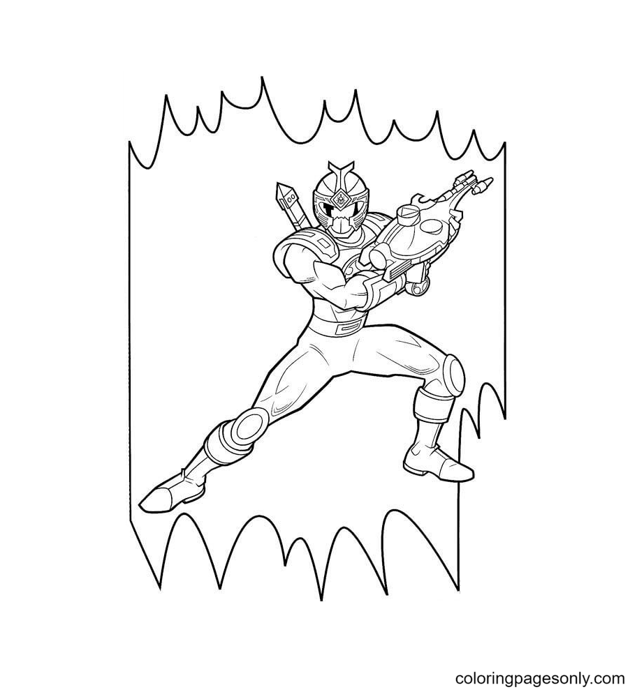 Ranger Blue Holds His Weapon Coloring Page