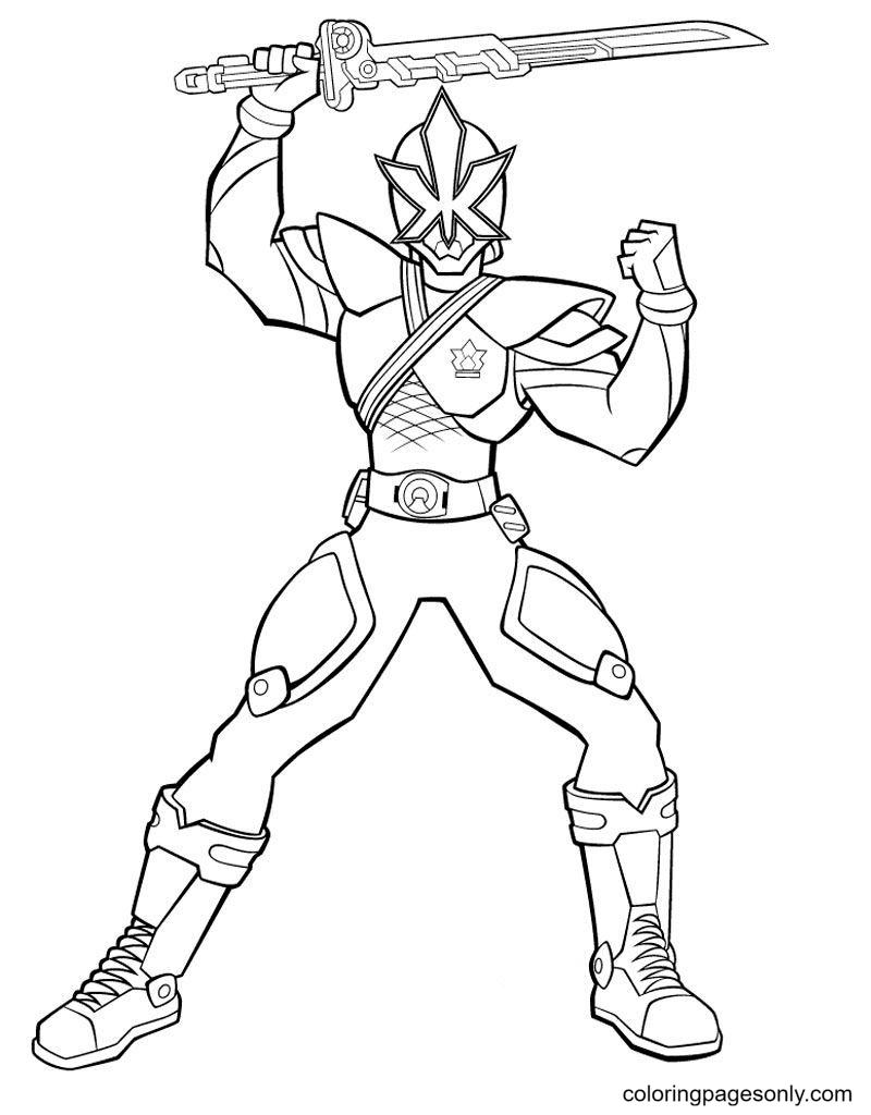 Ranger Blue with sword Coloring Page
