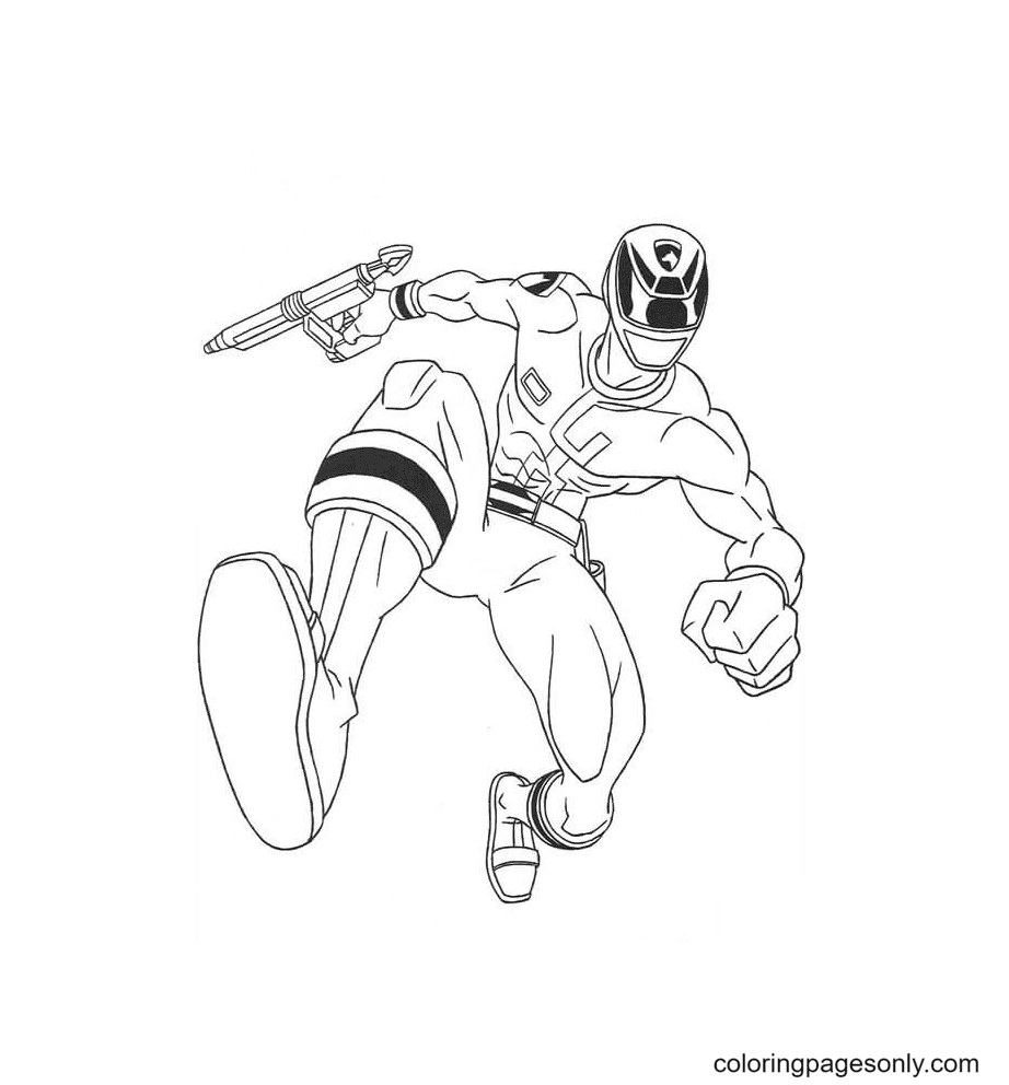 Ranger Is Jumping Coloring Page
