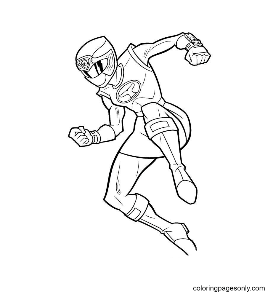 Ranger Pink Is Jumping Coloring Page