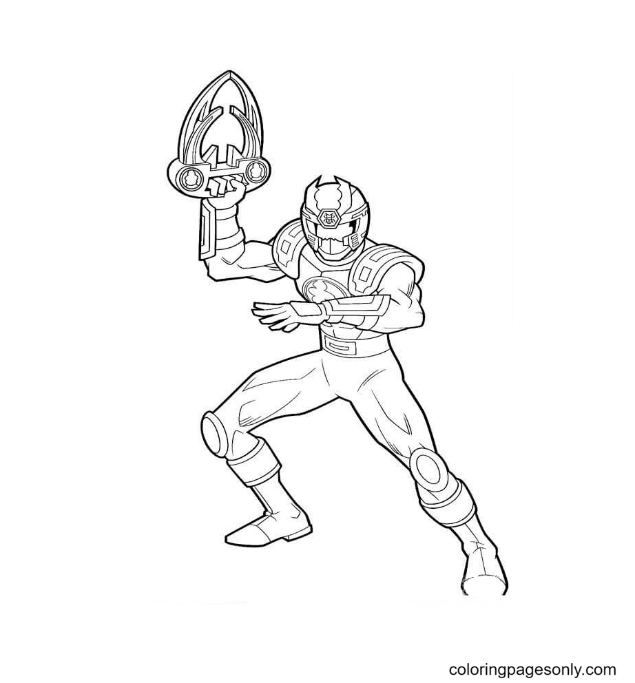 Ranger Red Is Holding His Weapon Coloring Page
