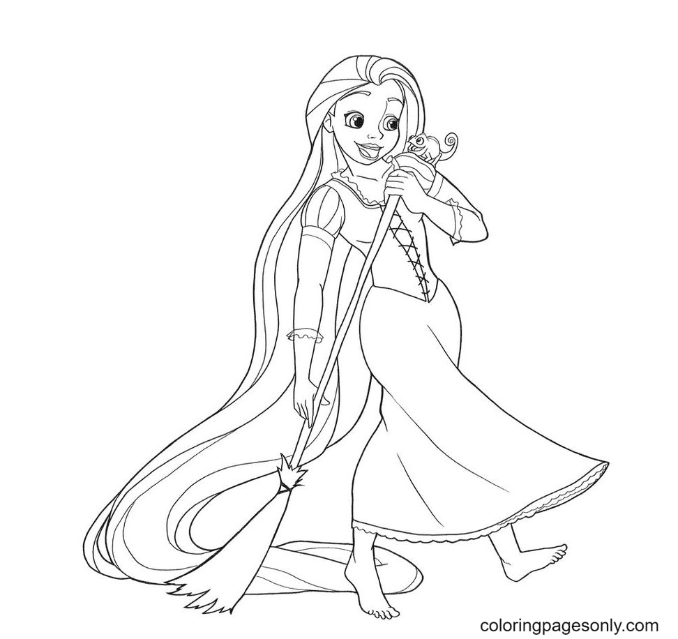 Rapunzel Sweeping Coloring Page
