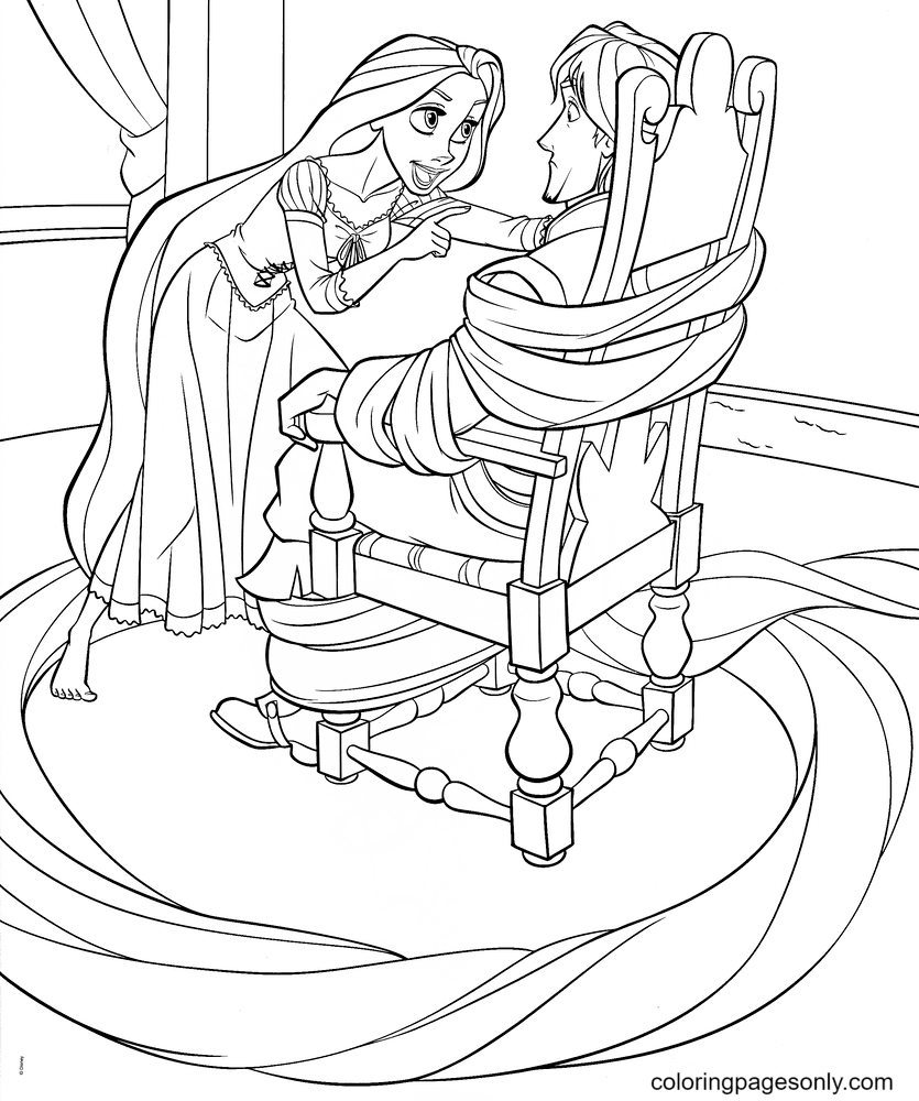 Rapunzel Ties up Flynn Coloring Page