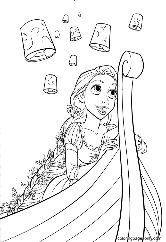 Rapunzel looks at the lanterns in the sky Coloring Page