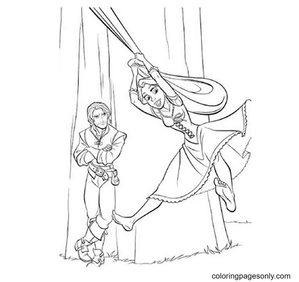 Rapunzel used her long hair to escape the tower Coloring Page